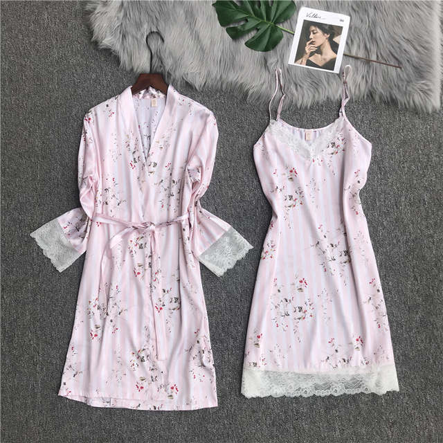 Online Shop Sexy Women Kimono Bath Dress Chinese Style Silk 2PCS Robe Set  Summer Formal Striped Rayon Nightwear Strap Robe Nightgown NR079  4afaf3f1c