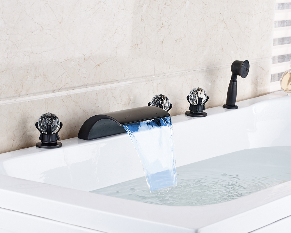 Oil Rubbed Bronze Three Crystal Handles Widespread 5pcs Waterfall LED Spout With Hand Sprayer