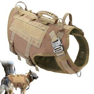 Image 1 - Taktyczne szelki nylonowe dla psa wojskowe K9 pracy kamizelka dla psa nie ciągnąć treningowe dla zwierząt domowych kamizelka myśliwska dla średnich i dużych psów owczarek niemiecki