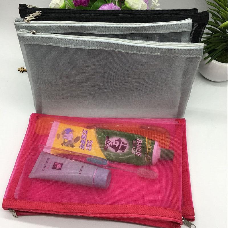 Newest Travel Cosmetic Bag Women Fashion Black Mesh Zipper Makeup Case Animal Make Up Bags Organizer Storage Pouch Toiletry Bag