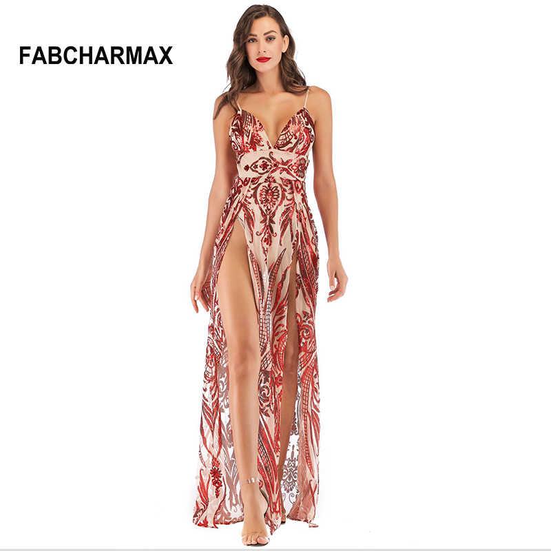 e7705fbb81 high waist sequins red maxi dress women patterns chic sexy double slit  dresses evening party dress