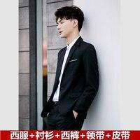 Men's Suit Decoration Youth Three-piece Suit Student Handsome Korean Edition Chao Autumn Men's Leisure Suit Set Men Blazers