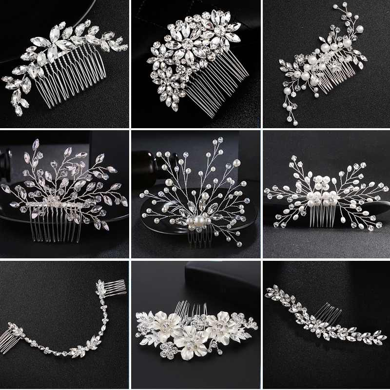 Mecresh Crystal Bride Hair Comb Wedding Hair Accessories Handmade Simulated Pearls Bridal Headdress Hair Ornaments Jewelry FS256