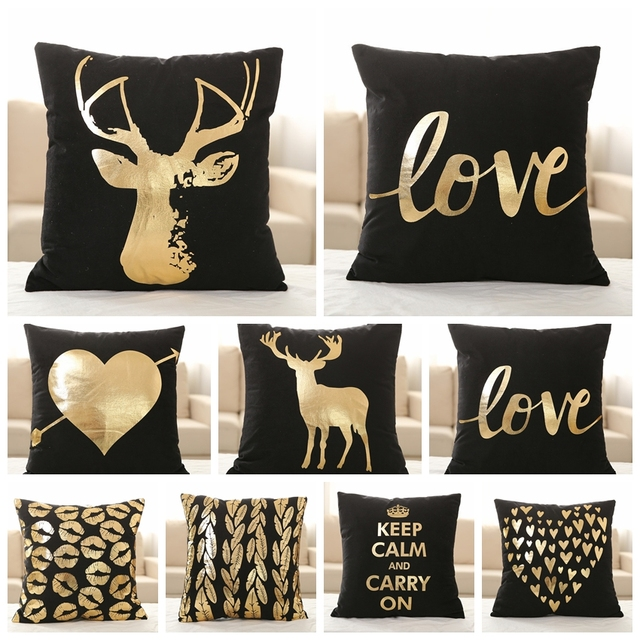 Nordic Design Black Velvet Pillowcase Gold Foil Cushion Decorative
