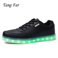 USB Led Luminous Shoes Men Big size Light Up Neon Man Lighted Shoes Zapatos Mujer Men's Leather Casual Charging Colorful Shoes