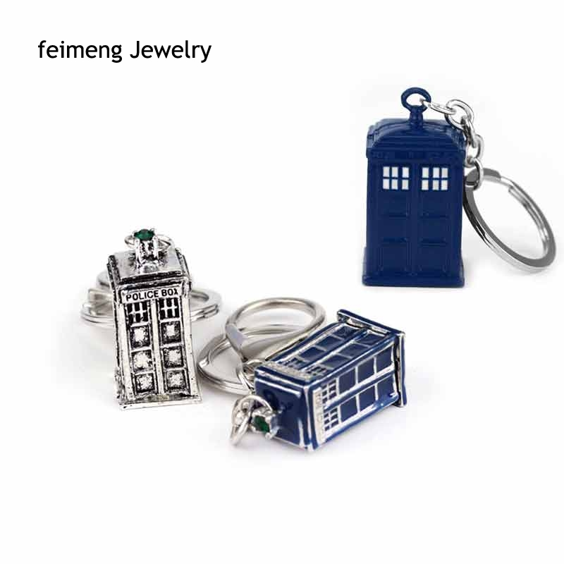 High Quality Doctor Who Alloy Police Box Blue Enamel TARDIS & Silver Plated Pendent Keychain United Kingdom TV Jewelry Key Chain