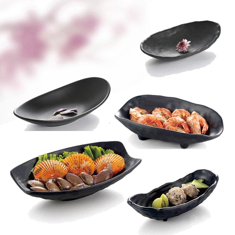 Fekete fagy utánzat porcelán étkészlet rúd alakú tányér divat étterem melamin Sashimi tál A5 melamin étkészlet