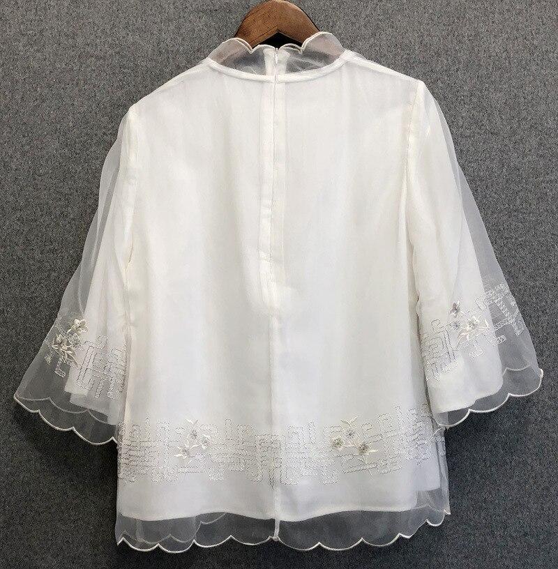 2019 été femmes élégant vintage blouses top Chic brodé style chinois chemises A277