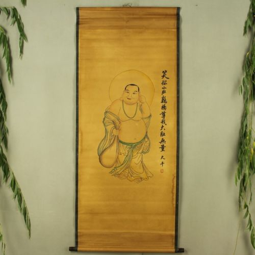 Exquisite Chinese Antique collection Imitation ancient The Buddha belly picture in Painting Calligraphy from Home Garden