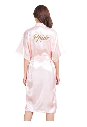 Dressing-Gown Kimono Bride-Robes Satin Silk Long Women Gold-Stamp Half-Sleeve Fashion