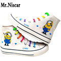 Mr.Niscar Spring Summer Casual Shoes Fashion Mens Minions White Canvas Shoes Men Cartoon Minion Shoes Breathable Hard-Wearing