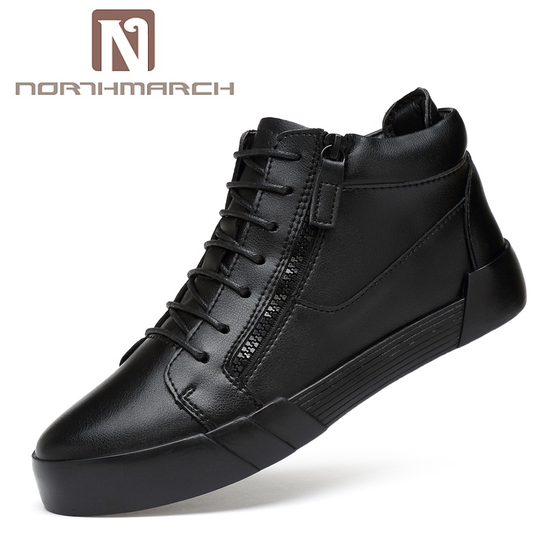NORTHMARCH Fashion Genuine Leather Men Shoes New 2018 Comfortable Mens Sneakers Casual High Top Breathable Shoes For Men northmarch new arrivals spring genuine leather shoes men breathable sneakers men comfortable casual shoes zapato hombre