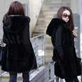 2017 Fashion Spring autumn Long Black Hooded Warm Rabbit Fur Vest Women Waistcoats Loose Sleeveless Jacket Outerwear Plus Size