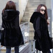 2017 Fashion Spring autumn Long Black Hooded Warm Rabbit Fur Vest Women Waistcoats Loose Sleeveless Jacket Outerwear Plus Size