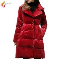 Plus Size L 5XL High Quality Women Cotton Jacket Fashion Gold Velvet Medium Long Down Cotton