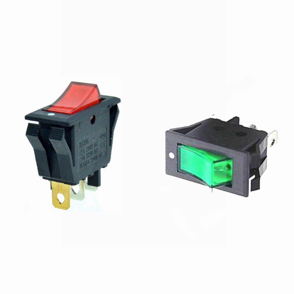 rocker boat switch spst red green illuminat lamp 3 pins 2 positions on off 28x13mm [ 1000 x 1000 Pixel ]