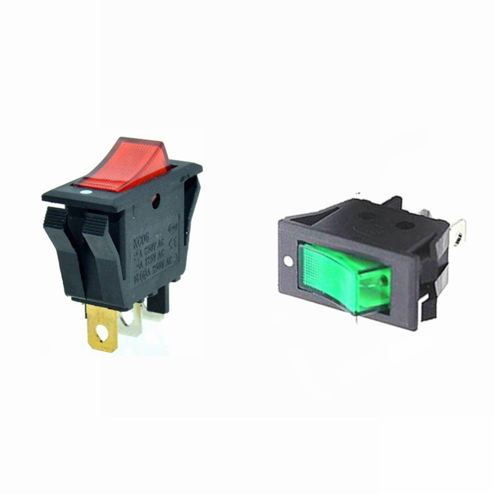 US $0.8 |Rocker Boat Switch SPST Red Green illuminat Lamp 3 Pins 2  Prong Toggle Switch Wiring Diagram A Vac on