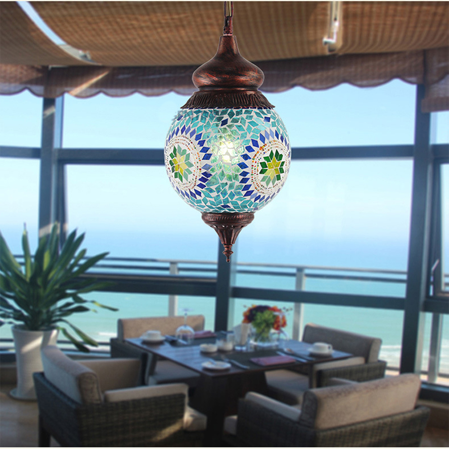 Southeast Asia mosaic color patch glass chandeliers lighting Creative living room restaurant Iron chandeliers tt tf ths 02b hybrid style black ver convoy asia exclusive