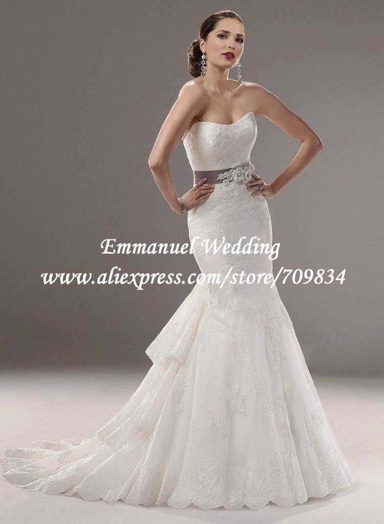 Fashion Sweetheart Purple Flower Waistband White Mermaid Wedding Dress Ruffle Lace Uk1669 In Dresses From Weddings Events On Aliexpress