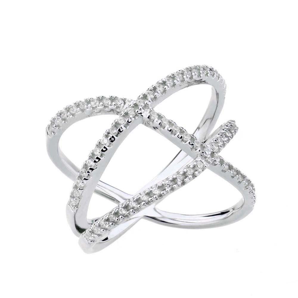 925 Sterling Silver CZ Double  X  Off Center Cross Ring Micro Pave     925 Sterling Silver CZ Double  X  Off Center Cross Ring Micro Pave AAA CZ  Engagement Wedding Band Fashion Jewelry Women in Engagement Rings from  Jewelry