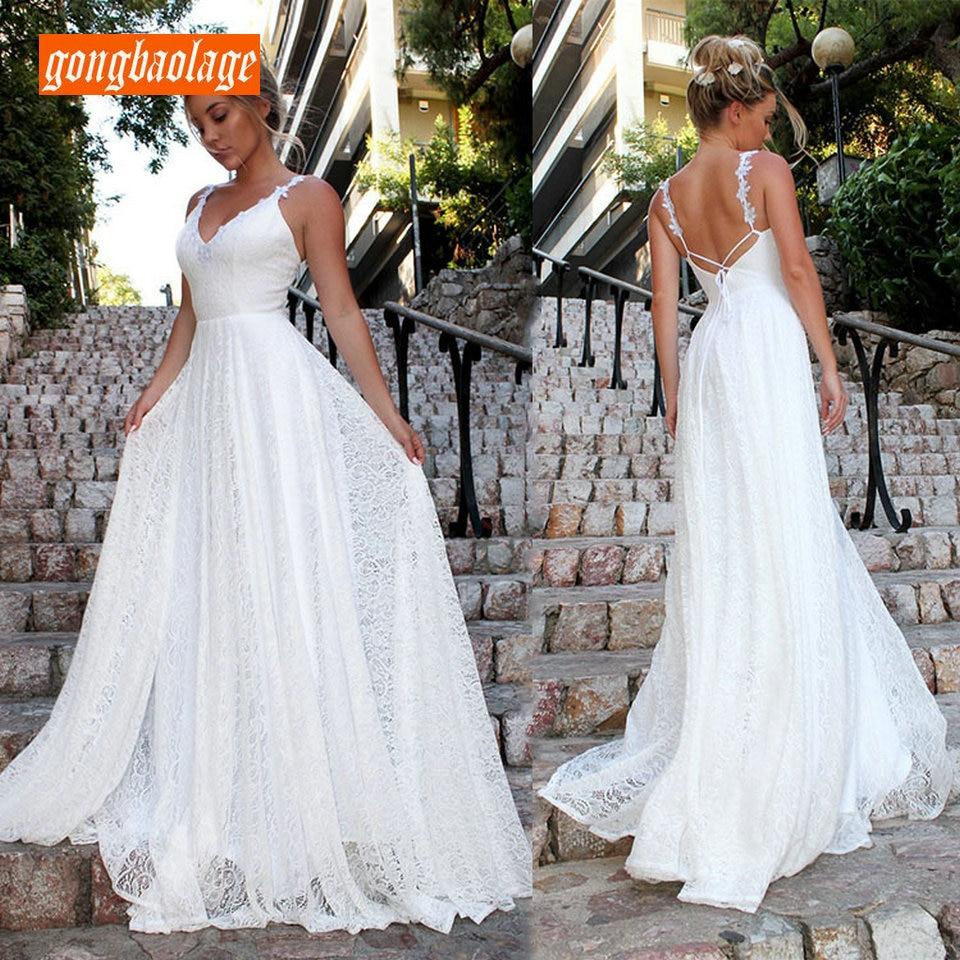 Élégant Boho femmes ivoire longues robes de mariée 2019 robe de mariée gongbaolage col en V dentelle bohème Slim Fit partie Sexy robe de mariée