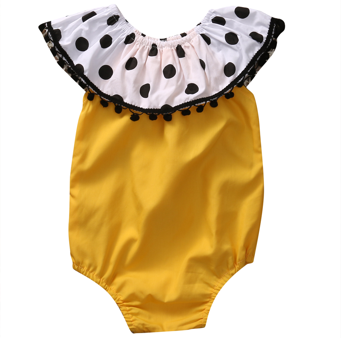 Yellow Newborn Baby Girl Clothes Fashion Infant Bebes   Romper   Polka Dot Pom Pom Tassel Kids Jumpsuit One Pieces Sunsuit 0-24M