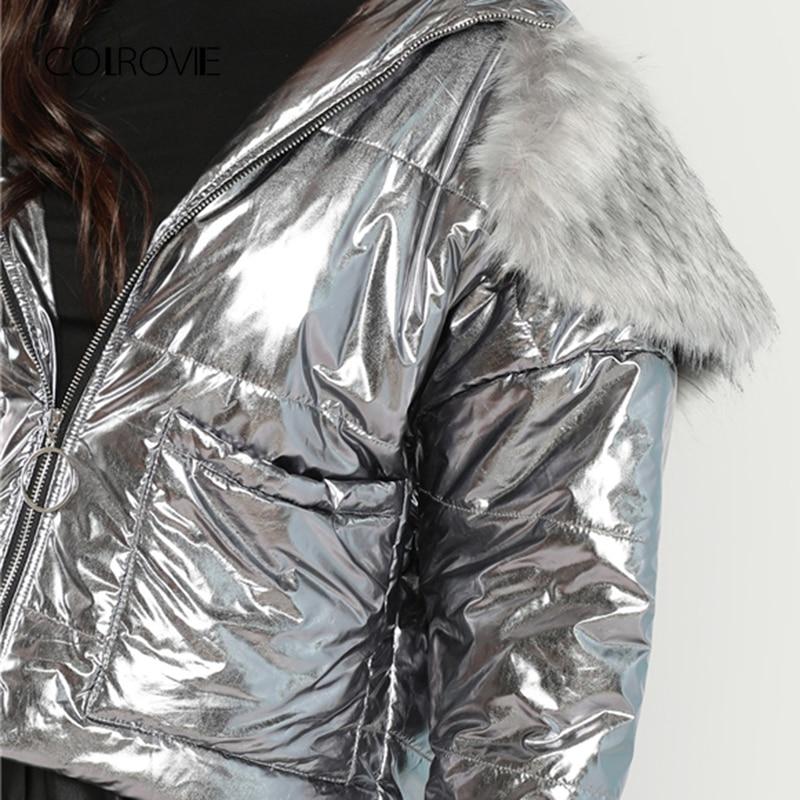 Femmes Silver Fourrure Hiver Veste Épais Dames Matelassée Capuche Colrovie À Fausse Manteau Puffer Survêtement Argent Métallique Vêtements Casual 1wgnqpPT