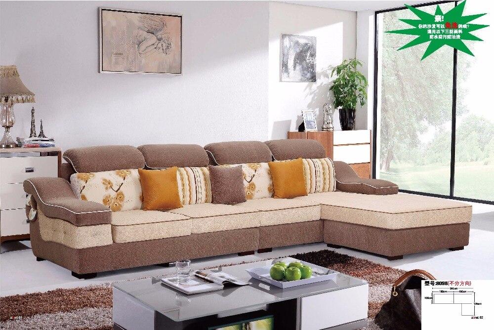 Ldm8096 modern living room sectional l shape sofa set anti bacterial comfortable soft fabric - Hacer cojines sofa ...