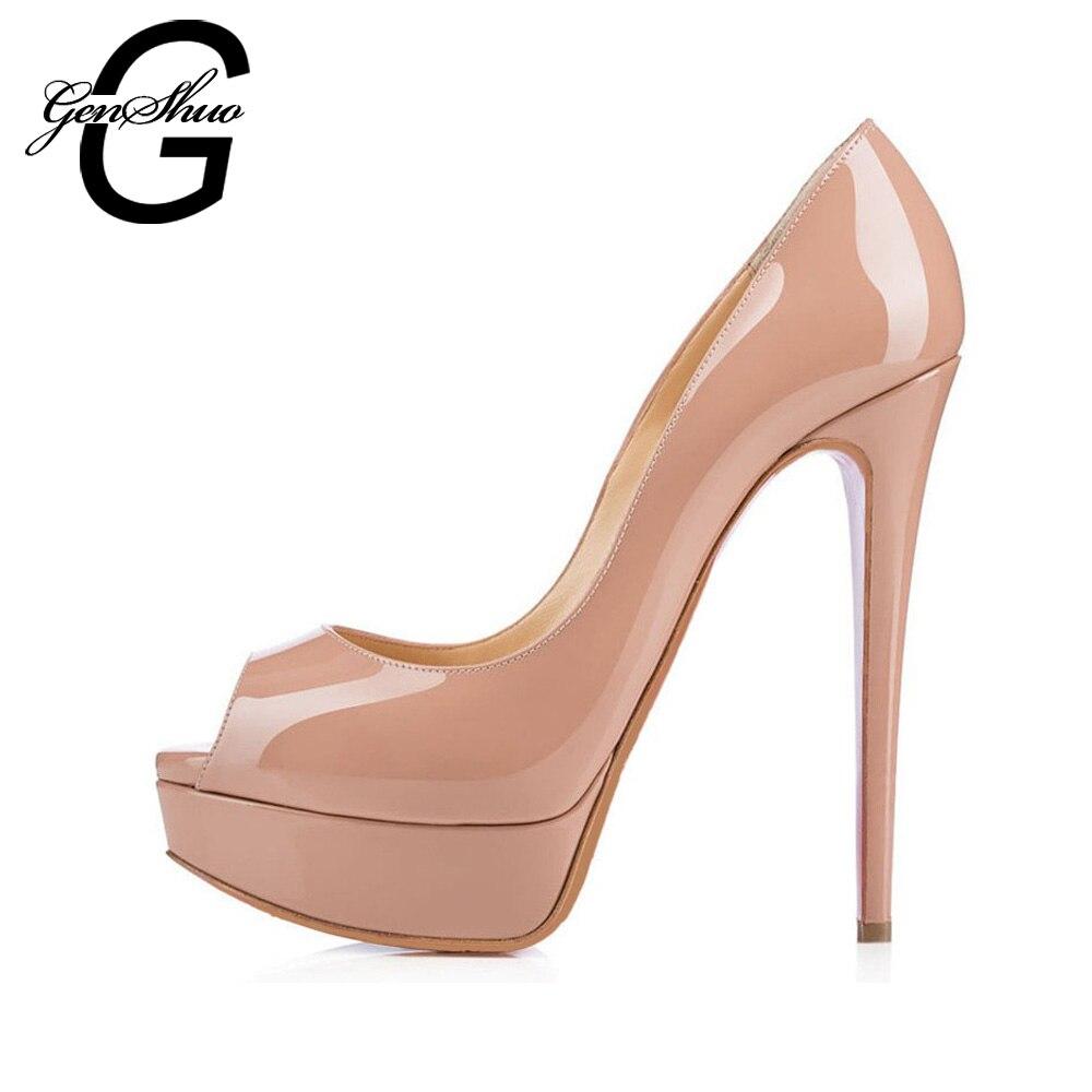 GENSHUO Sexy à talons hauts femmes pompes plate-forme chaussures talon mince 14 cm Peep Toe dames chaussures de fête de mariage talons en cuir verni Nude