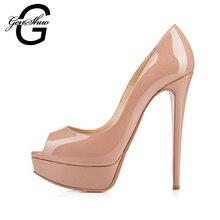 GENSHUO Sexy High Heel Women Pumps Platform Shoes Thin Heel 14cm Peep Toe Ladies Wedding Party Shoes Nude Patent Leather Heels