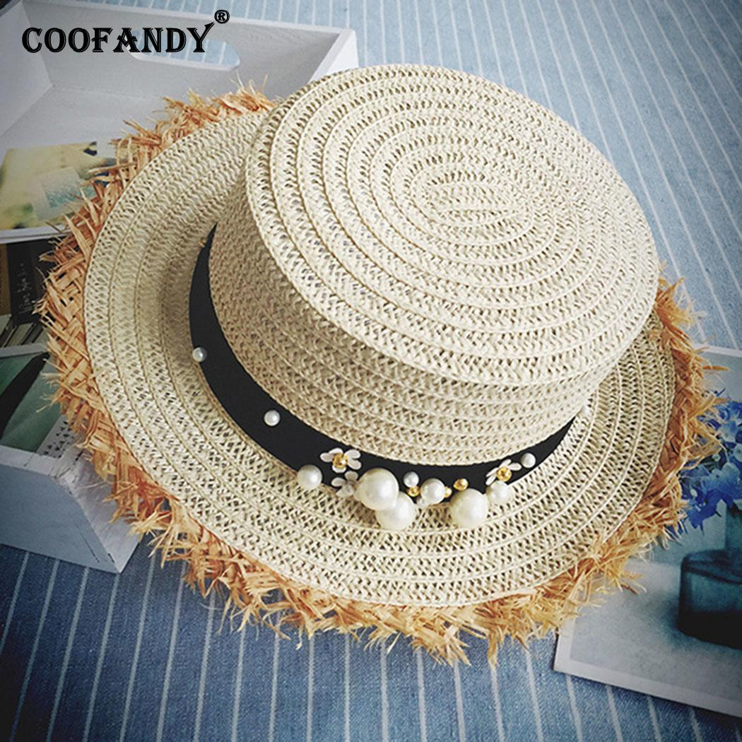 Women Fashion Summer Round Sunscreen Ultraviolet Beach Hat Solid Artificial Pearl(China)