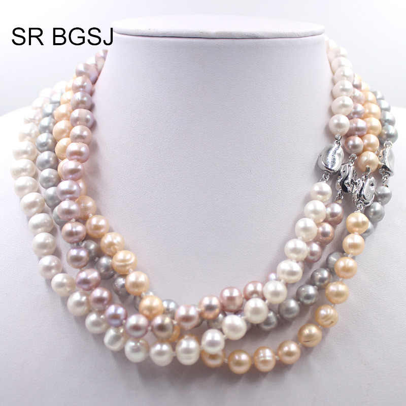 Free Shipping 8-9mm White Pink Purple Gray Round Cultured Ntural Pearl Beaded Women  Choker Pearl Necklace 19""