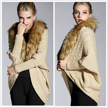 Fashion Bat Sleeve Large Fur Collar Knitted Sweaters Womens Coats 2015 Autumn Winter Ladies Sweater Cardigans Cloak Cape Poncho