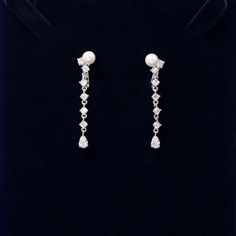 Cubique zircone ronde perle perceuse Noble mariée collier pendentif boucles d'oreilles bijoux strass accessoires de mariage pour les femmes - 5