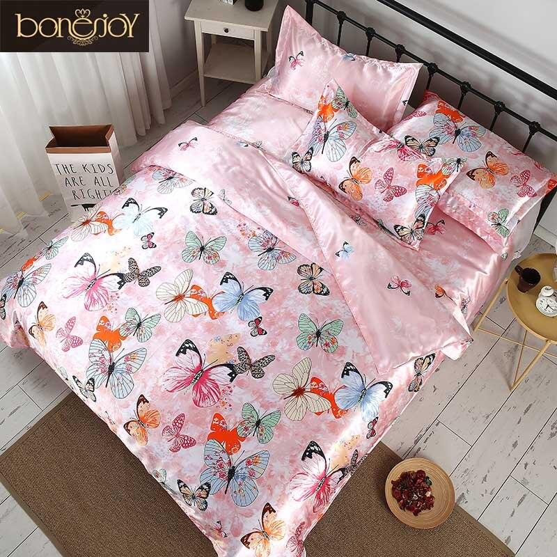 Bonenjoy 2018 Satin tissu ensemble de literie été utilisé housse de couette reine taille papillon imprimé draps ensembles Satin soie literie