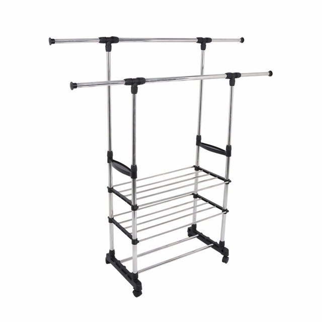 Portable Telescopic Stainless Steel Double Rolling Rails Drying Hanging  Stand Closet Wardrobe Bedroom Clothes Garment Rack