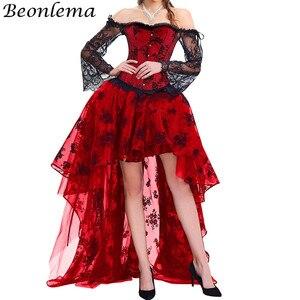 Image 5 - BEONLEMA Corset en dentelle avec manches longues, tenue Sexy gothique, noir, Bustier, rouge, Steampunk, vêtement de grande taille