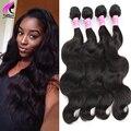 Barato Peruano Virgin Hair Body Wave 4 Bundles Onda Del Cuerpo Peruano Extensiones de Cabello Humano Puruvian Bundles Pelo Negro de la Armadura Bundle
