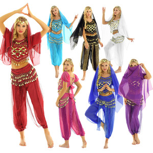 Image 2 - TiaoBug Women Halloween Carnival Stage Performance Egypt Belly Dance Costume Bollywood Indian Dancing Dress Chiffon Sari Set