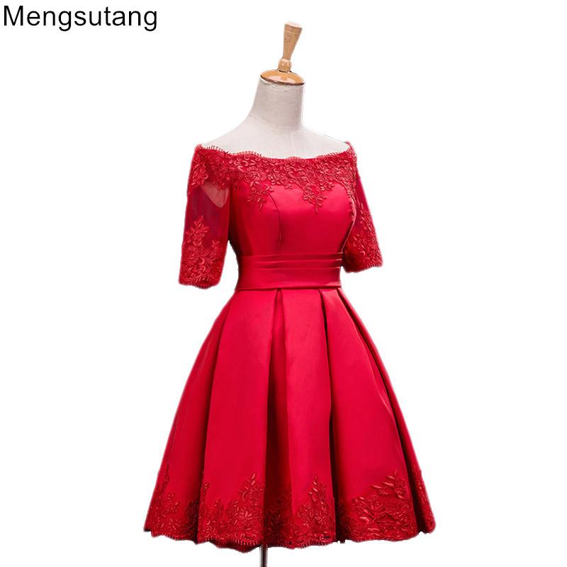 Robe De Soiree 2019 lace up Banquet Party   Evening     Dress   Slit Short Slim Red Lace Prom   Dresses   party   dresses   gowns 3 colors