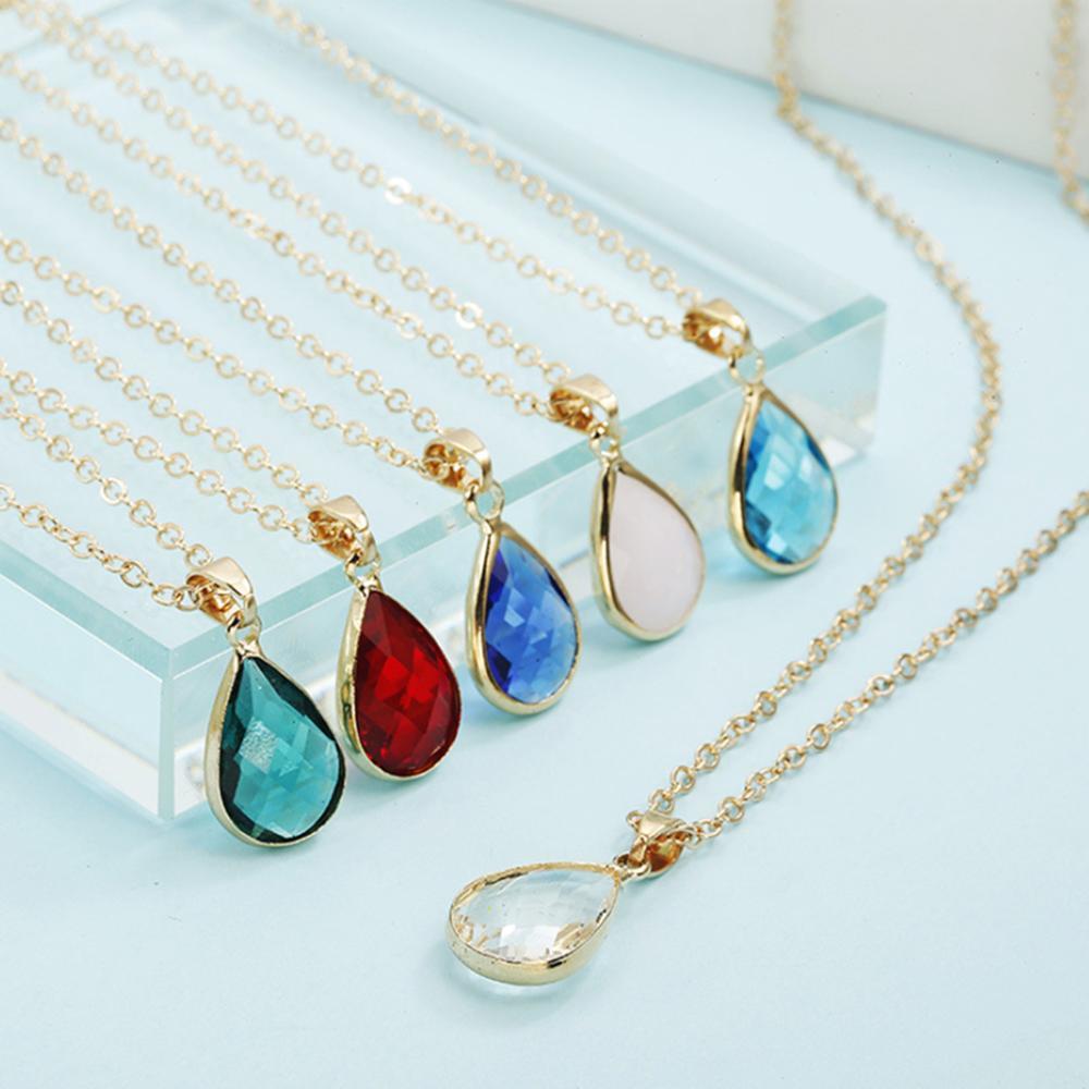 Natural quartz Crystal Gem Stone Chakra Point Healing Waterdrop Pendant Necklace