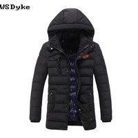 2017 New Medium Long Hooded Chaqueta Acolchada Hombre Solid Color All Match Veste Parka
