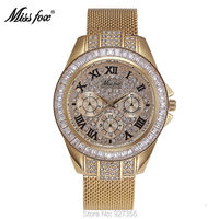 Top Quality Luxury Gold Watch Women Waterproof Rhinestone Quartz Watches Lady Stainless Steel Bracelet Dress Wristwatches