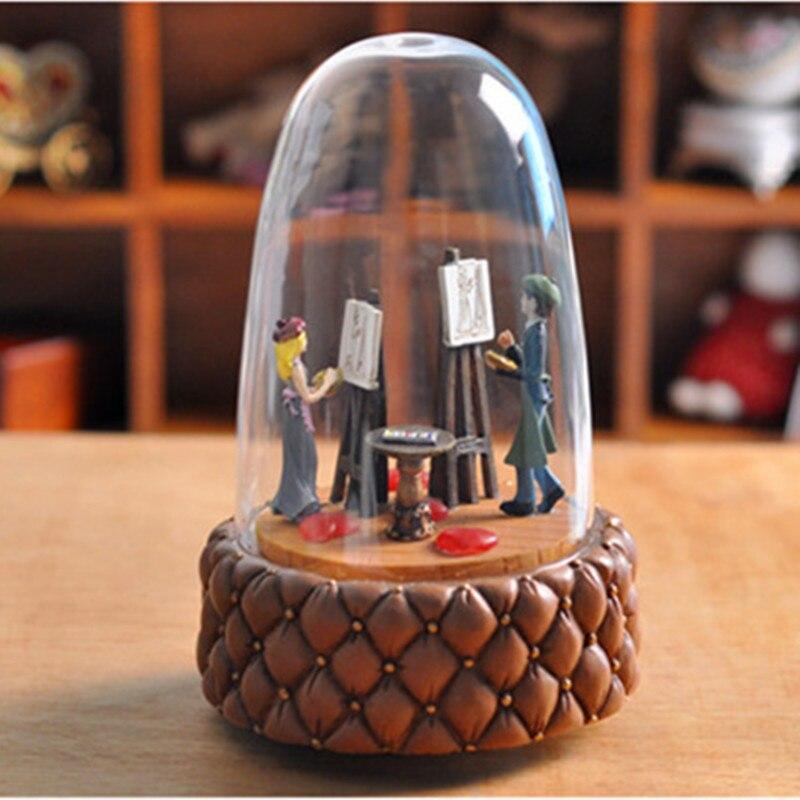 Zipi Luminous rotation Glass cover Music Box Clockwork Type 18 Tones Birthday Gift Christmas Gift Girlfriend romantic Gift