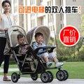 Gemelos de alta paisaje antes y después de la doble luz de bebé plegable carros pueden sentarse mentira