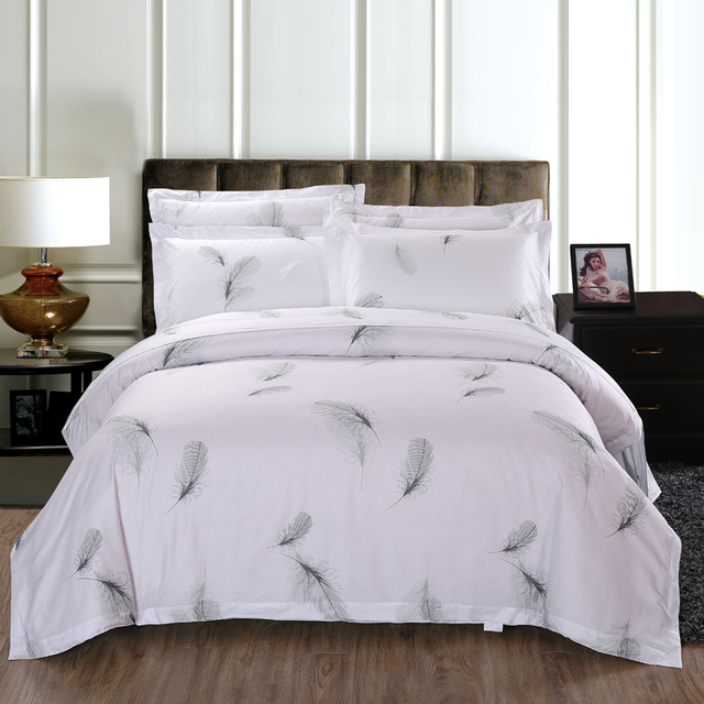Bedding Set 100% Cotton Bed Linen Hotel White Feather Bed Sets(duvet Cover+