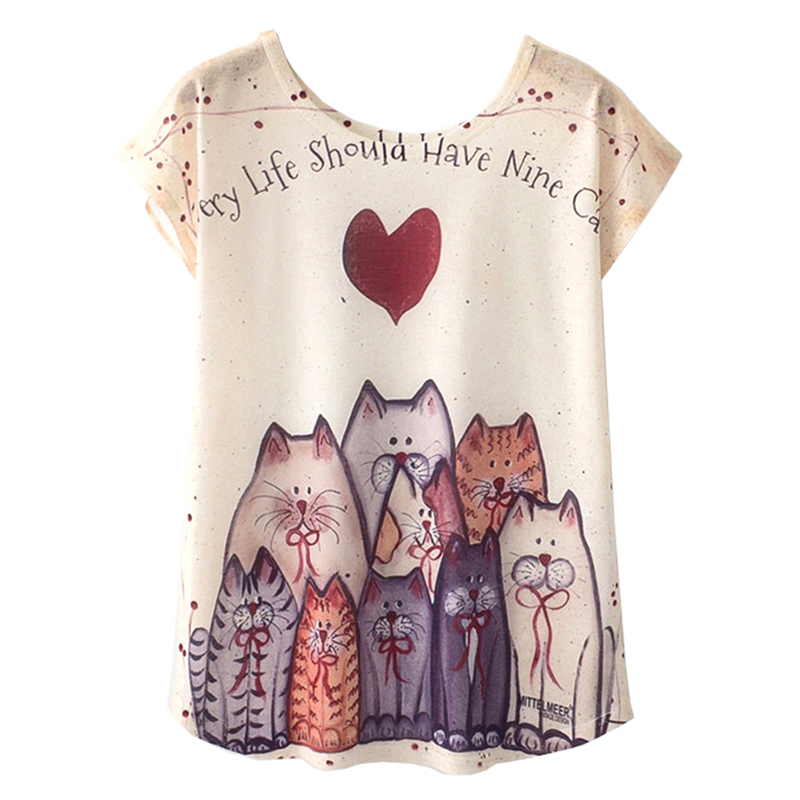 KaiTingu Summer Novelty Women T Shirt Harajuku Kawaii Cute Style Love Heart Cat Print T-shirt New Short Sleeve Tops Size M L XL