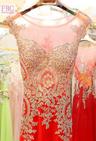 2018 Real Picture Red Mermaid Prom Dresses Scoop Gold Appliques Evening Dresses Party Gowns