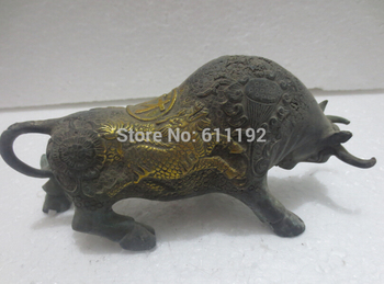 Metal Crafts Antique Home Decorative Arts, Chinese Gilt Bronze Lucky Cow/Bull Sculpture
