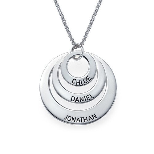 personalized mother daughter necklace solid silver stack disc